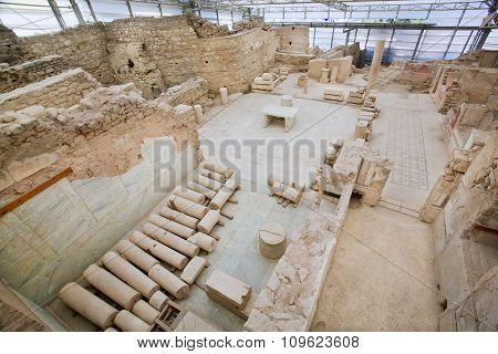 Glass House Under Ephesus City Complex With Ruined Terraces From Roman Period