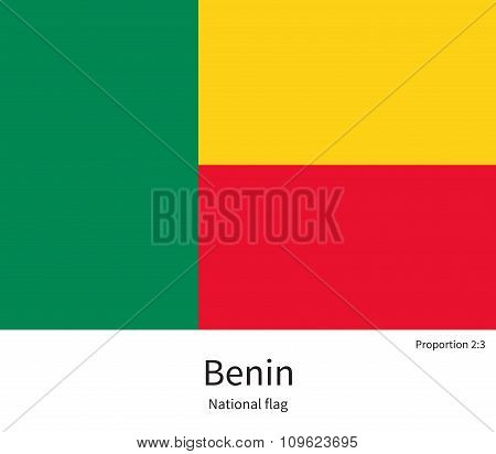 National flag of Benin with correct proportions, element, colors