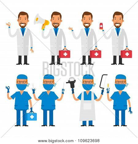 Set characters doctor and surgeon
