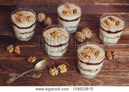 Homemade Dessert With Curd, Walnut And Chocolate
