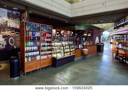 DUBAI, UAE - NOVEMBER 21, 2015: interior of Dubai Airport. Dubai International Airport is the world's busiest airport by international passenger traffic.