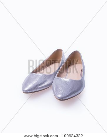 Shoe. Silver Colour Fashion Woman Shoes On A Background.