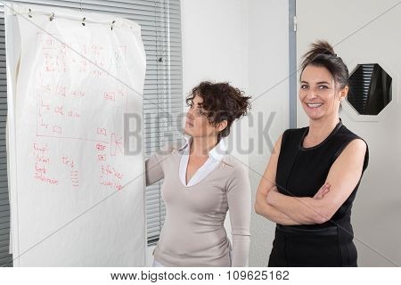 Two Elegant Business Women Standing Drawing Chart On Whiteboard.