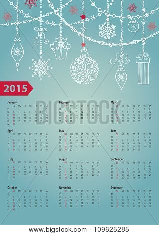 Calendar 2016.Christmas ball,garlands.gifts