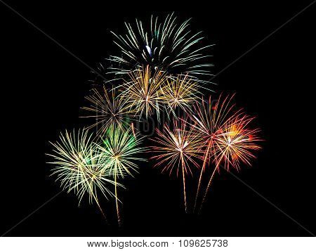 Colorful Fireworks Of Various Colors On Black Background