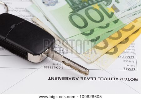 Lease Document Agreement With Car Key