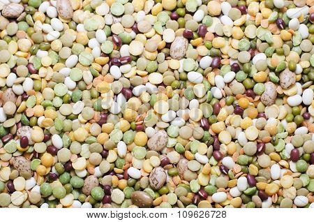 Abstract background from beans. Raw food and ingredients