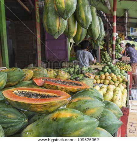Papaya At Tropical Market In Yogjakarta, Indonesia.