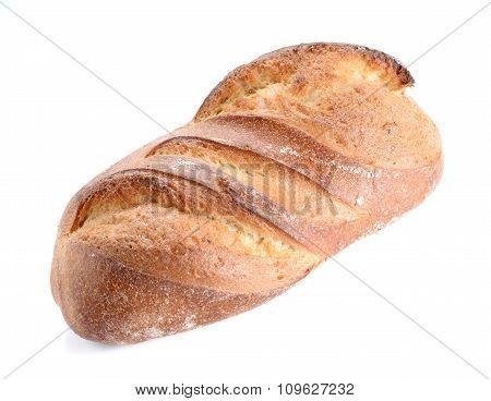 Great Bread Placed On White Background.