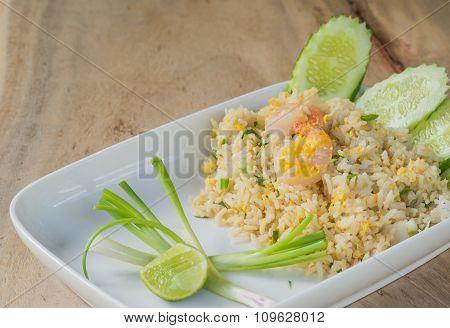 Shrimp Fried Rice On Wooden Floor.