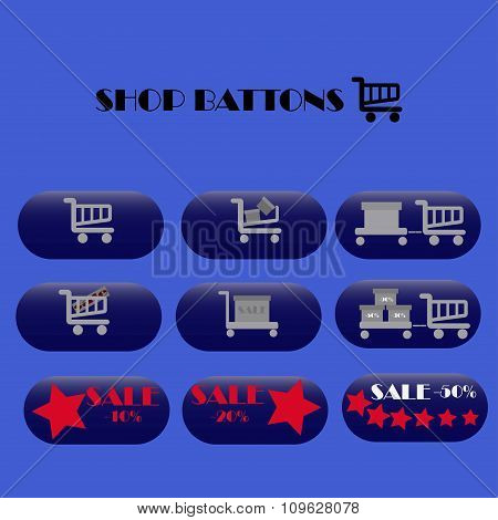 Online shopping web shop icons