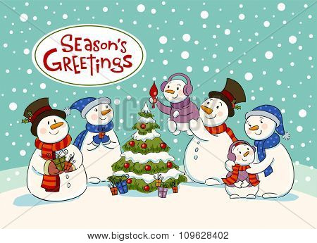 The family of snowmen dresses up a fir-tree , Vector illustration for banners, backgrounds and decorations.