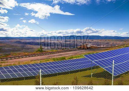 Coal mine with solar energy panels