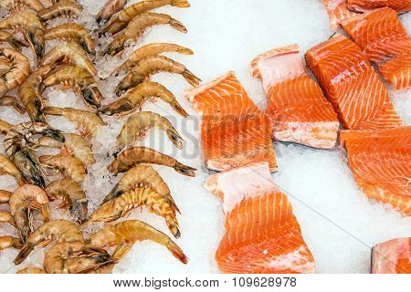 Salmon and shrimps at a market