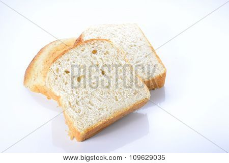 Bread Cut Pieces On White Background.