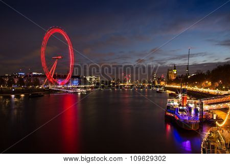 Skyline of London at Dusk