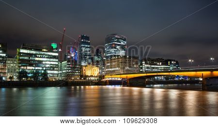 Skyline of the City of London at Dusk