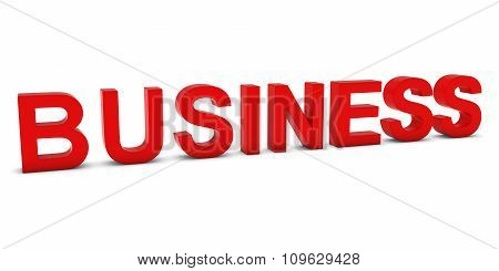 Business Red 3D Text Isolated On White With Shadows