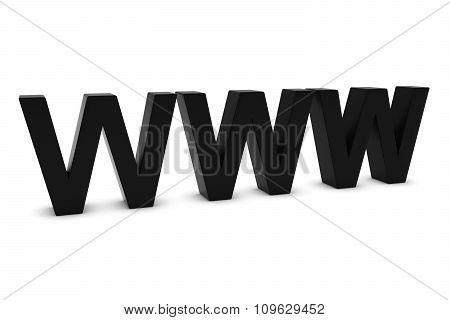 Www Black 3D Text Isolated On White With Shadows