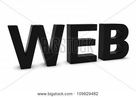 Web Black 3D Text Isolated On White With Shadows