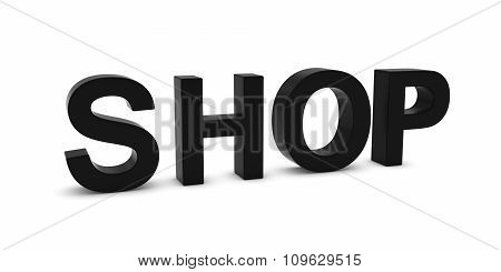 Shop Black 3D Text Isolated On White With Shadows