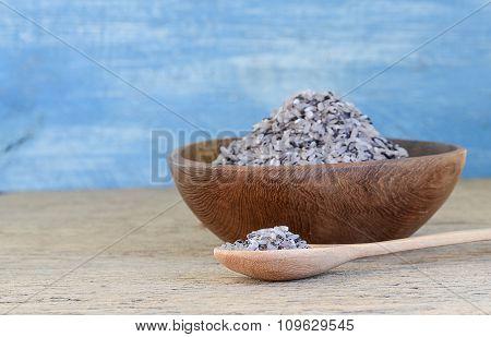 Rice Berries In Wooden Bowls,wooden Spoon.
