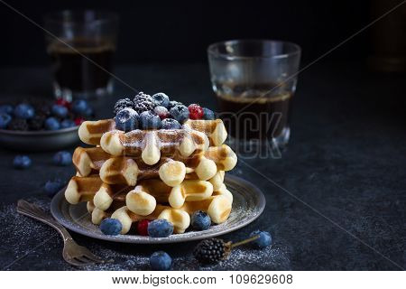 Waffles With Fresh Berries And Powdered Sugar