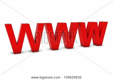 Www Red 3D Text Isolated On White With Shadows