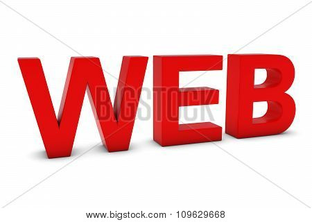 Web Red 3D Text Isolated On White With Shadows