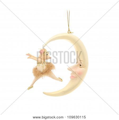 Mouse and half moon. Christmas decoration