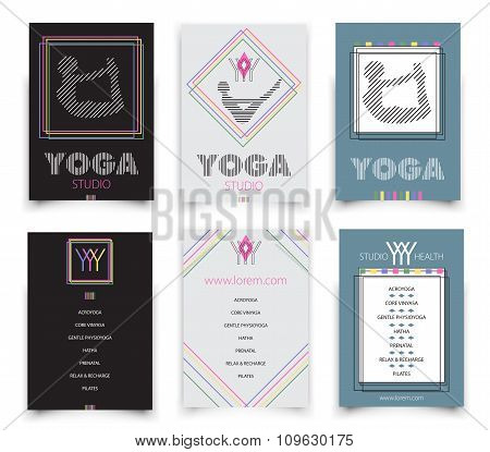 cards template for yoga studio,  vector illustration