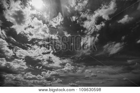 Sky And Clouds In Black And White Colors