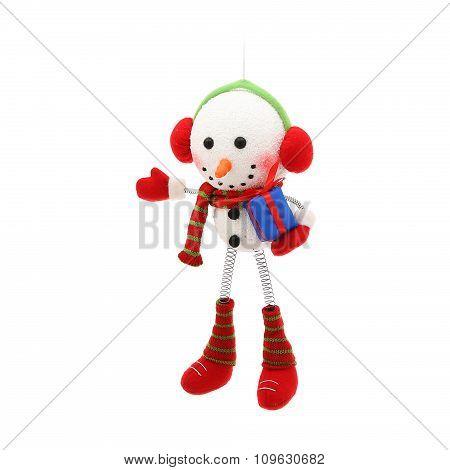 Cheerful snowman. Christmas ornament