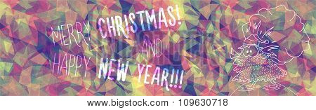 Greeting Polygonal Card: Merry Christmas And New Year.