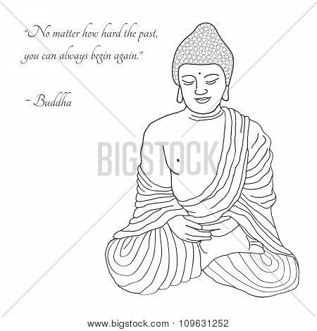 Hand Drawn Buddha Illustration.