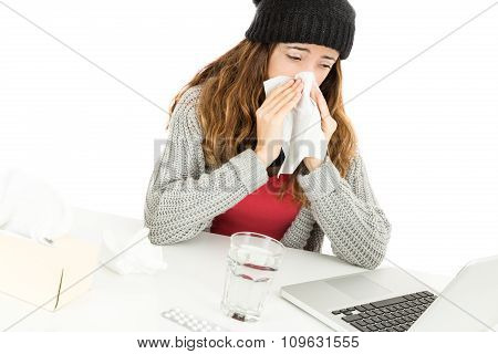 Sick Working Woman