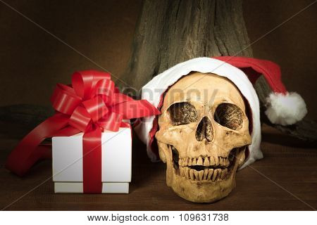 Still Life With Skull And Present, Dark Concept