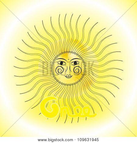 Design sun in Slavs style