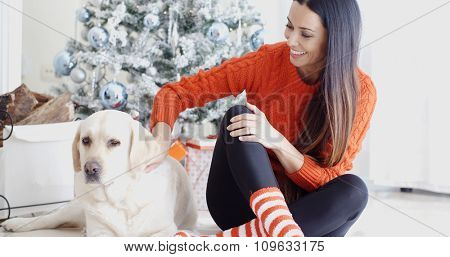 Laughing young woman with her dog at Christmas sitting together on the floor in front of the tree as she strokes its back