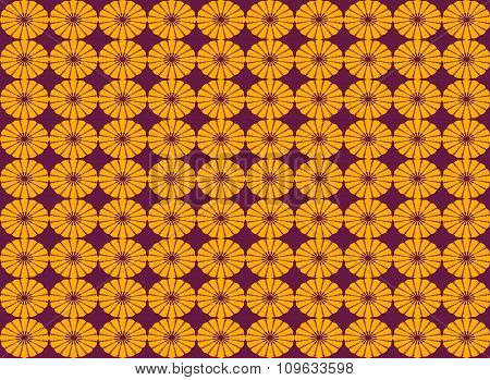 Abstract Orange Flower Shape Seamless Pattern Background