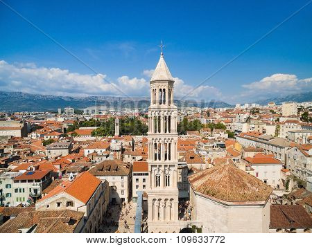Aerial view of Saint Eufemia Church and Diocletian's palace in Split, Croatia.