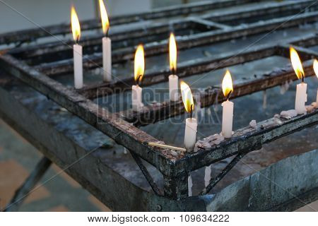 Candle Light In Buddisht Temple