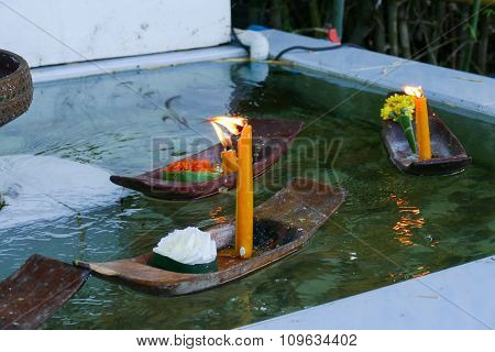 Candle Light In Small Boat