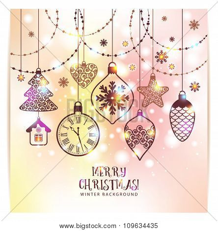 New Year's Greeting Card Merry Christmas.