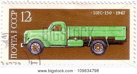 Ussr - Circa 1974: A Stamp Printed In Ussr Shows Zis 8 Bus, 1934, Development Of Russian Automotive