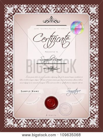 Gift Vintage Certificate / Diploma / Award Template With Protective Macrame Figure And Bas / Basreli