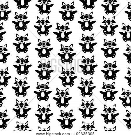 Raccoon Seamless Pattern.