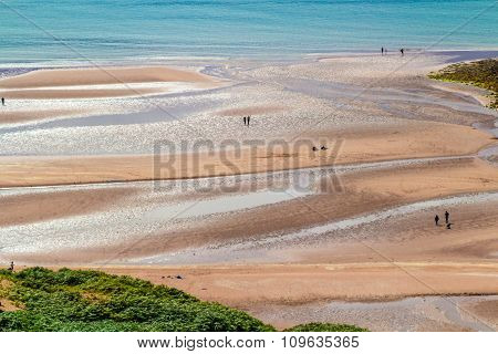 Sandy Beach, Sea, People,
