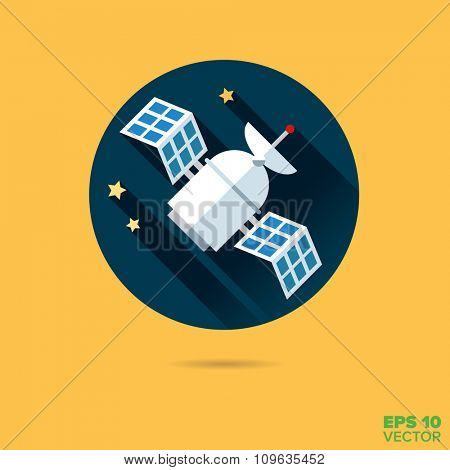 Satellite in space flat design vector icon