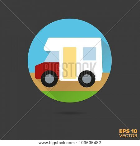 Camper van flat design vector icon